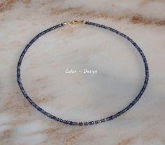 Colliers - Dunkelblauer IOLITH mit 375 GELB- GOLD - ein Designerstück von Color-Design bei DaWanda