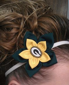 Green Bay Packers flower headband, clip or pin