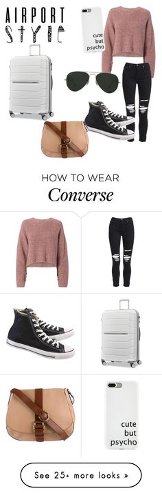 """Airport style"" by haleybug18 on Polyvore featuring rag & bone, AMIRI, Converse, Ray-Ban, Salvatore Ferragamo, Samsonite and airportstyle"