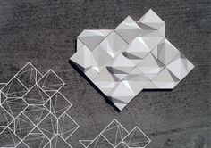 Contrast on Behance - Eliza Mikus - These handmade tiles of ceramic and concrete can be colour coördinated and customized with shape, pattern etc. Module Design, 3d Wall Decor, Wall Art, 3d Panels, Tuile, Origami, Digital Fabrication, Wall And Floor Tiles, Wall Tiles