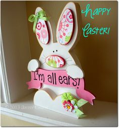 Unfinished Wood Banner BUNNY Spring Easter Home Decor. $15.99, via Etsy.