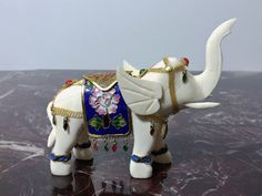 Vintage Asian Elephant Figurine with Cloisonne by PrimaTreasures, $50.00