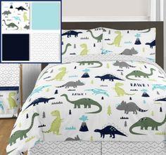 Rawr Blue Green Dinosaur Bedding Twin Full/Queen Modern Kids Comforter Set