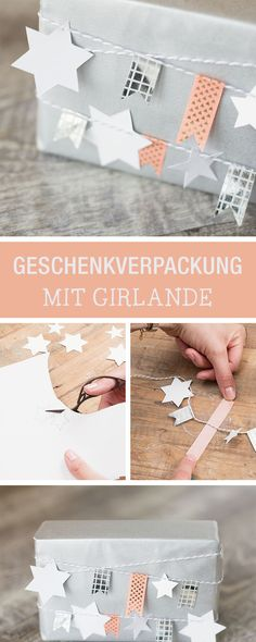 Geschenkverpackung mit Girlande aus Sternen verzieren / gift wrapping idea, star garland as christmas decoration via DaWanda.com