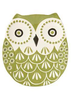 Hand Painted Owl Plate (20.8cm x 18.8cm x 1.8cm) - Matalan