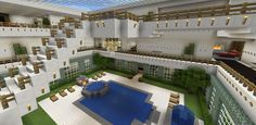 Minecraft Atrium Fountain Balcony Stairs Pool House Hot Tub
