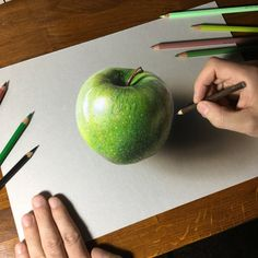 Drawing Techniques Apple Drawing by marcellobarenghi - 3d Art Drawing, Pencil Art Drawings, Art Sketches, Realistic Paintings, Realistic Drawings, Colorful Drawings, 3d Drawing Techniques, Colored Pencil Techniques, Colored Pencil Artwork