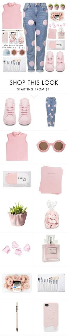 """Tee Shirt"" by bellacharlie ❤ liked on Polyvore featuring adidas, Topshop, RED Valentino, Wildfox, Sarah's Bag, Shinola, H&M, Christian Dior, Seltzer and women's clothing"