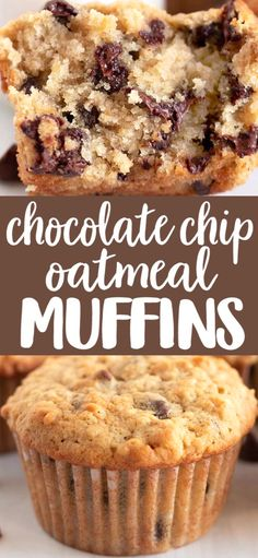 chocolate chip cookie dough Oatmeal Chocolate Chip Muffins are perfect for breakfast, snacks or your mid morning coffee break, theyre tender, delicious and AMAZING! Triple Chocolate Muffins, Chocolate Chip Oatmeal, Chocolate Chip Cake, Chocolate Desserts, Köstliche Desserts, Healthy Dessert Recipes, Healthy Food, Healthy Drinks, Healthy Cake