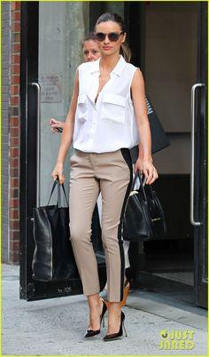 July 10, 2012:Equipment shirt, A.L.C. pants, Céline bag, Manolo Blahnik heels, Stella McCartney sunglasses