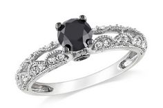 1 Carat Black and White Diamond 14K White Gold Engagement Ring with Black Rhodium  Retail Value: $950.00   ICE Price: $635.00