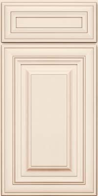 Cabernet Square Raised Panel - Solid (AA1M) Maple in Dove White w/Cocoa Glaze from building products