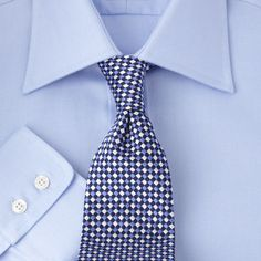 Pure Egyptian cotton, sky-blue, cut away collar #shirt to use for many different styles and situations. Extremely elegant, same style high-end made to measure by Bernheim for $80 or PLN 249
