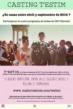 ¡Buscamos parejas que se casen!  Si te casas en las Islas Baleares entre abril y septiembre de este 2014, participa en nuestro casting de selección de parejas de T'estim, el nuevo programa de IB3 Televisión que va sobre el amor y las bodas.  Formulario de inscripción: http://www.mallorcaboda.com/testim/