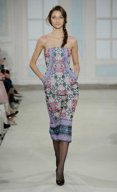 Winter 2014 Merida Tile Strapless Dress | Temperley London