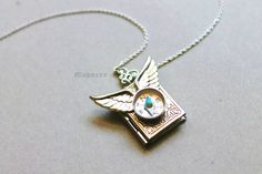 Silver Compass Locket with Wings