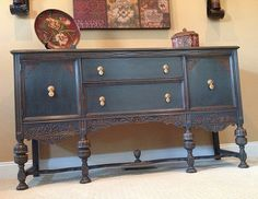 """""""Earl Gray"""" Re-Birth Date 12/01/13 Earl Gray is a stunning vintage buffet re-created by Twisted Sister's Furniture. He was refinished with Annie Sloan chalk paint in a custom mix of Graphite & French Linen, w/the drawers & cabinet inside done in a custom mix of Emperors Silk & Graphite. The drawers are also lined w/a great black & white Damask print paper. Height: 41.5"""" including back decorative molding Length / Width: 66"""" Depth: 21"""""""