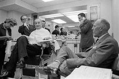 LBJ at the White House barbers.