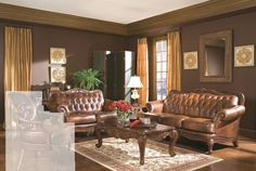 The Victoria Living Room Set by Coaster Furniture is a elegant living room set that will enrich the beauty of your home. Its cover is a top grain and split tri-tone leather. It is carefully crafted and three colors have been blended to create this high end look. The set features decorative moldings and over 1 000 individually placed nail heads to highlight this sets gentle curves. It has hardwood frames and 1.8 cushions with Dacron wrap. The sofa loveseat and chair are amazingly comfortable…