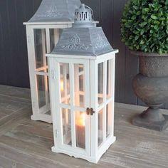 Set of 2 Wooden Lanterns