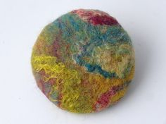Felt brooch hand felted in jewel colours circular by loveFibre