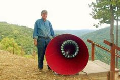 89 Year-old Man designs bladeless wind turbine.  Catching Wind Power Farm, wind turbine, bladeless wind turbine, birds, conservation, design, renewable energy