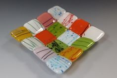 Multi Colored Quilted Fused and Slumped Glass 6 by DenaultStudios, $35.00
