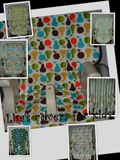High Chair Cover Replacement.  Fits MANY chairs.  Lisa's Covers For Kids.  Available in MANY fabrics.  Peg Perego.  Baby Tend.  Chicco Mamma.  Fisher Price.