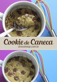cake recipe cookie mug that has flavor and appearance of a chocolate chip cookie, to make in the microwave for five minutes! Quick and easy recipe. Fun Baking Recipes, Mug Recipes, Delicious Cake Recipes, Yummy Cakes, Sweet Recipes, Snack Recipes, Dessert Recipes, Cooking Recipes, Bolo De Chocolate