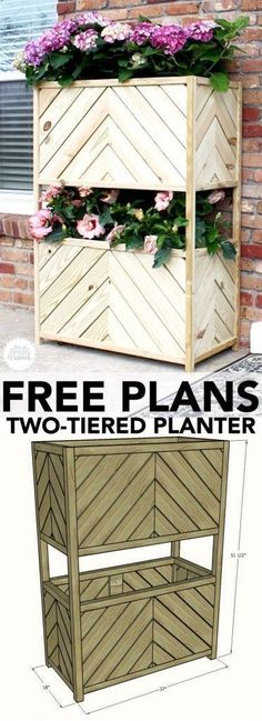 How to build a vertical two-tiered planter. Free building plans by Jen Woodhouse