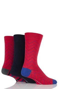 Mens 3 Pair Glenmuir Plain and Zig Zag Squared Bamboo Socks £8.99