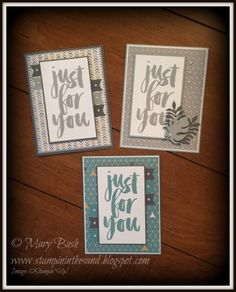 Stampin' in the Sand: Sneak Peek: Cards: Masculine Moonlight Botanicals For You