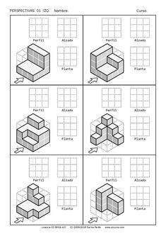 ← página anterior Isometric Drawing Exercises, Isometric Art, Drawing Lessons For Kids, Drawing Practice, Iso Drawing, Basic Drawing, Orthographic Drawing, Orthographic Projection, Perspective Drawing Lessons