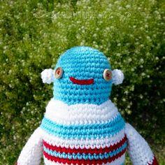 Cute Handmade Crochet ROBOT B by CharlesinNeedleland on Etsy