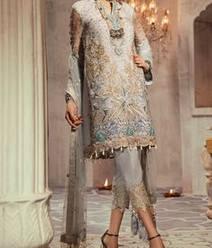 Embroidered Fancy Style Wedding Wear Suit Top Fabric: - Georgette And Organza Heavy Embroidered Bottom/Inner : - Santoon Dupatta: - Soft Net/Banarasi Silk Jacquard Work: -Nazneen Best Quality Assuranc Pakistani Dress Design, Pakistani Designers, Pakistani Dresses, Pakistani Suits, Pakistani Couture, Punjabi Suits, Bollywood Suits, Trendy Suits, Whatsapp Messenger
