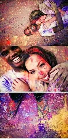 *Perfect* engagement shoot idea...our first Holi together was *AMAZING*