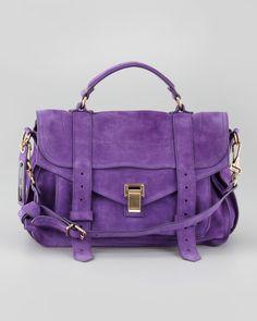 Pretty Purple Suede Medium Satchel