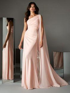 Elegant Dresses, Pretty Dresses, Bridesmaid Dresses, Prom Dresses, Formal Dresses, Chiffon Dresses, Chiffon Gown, Pink Evening Gowns, Drape Gowns