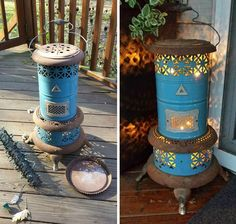 Where can I find one of these old heaters. Gut the inside and add string Christmas lights, beautiful!
