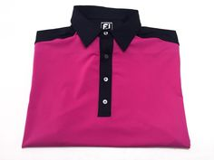 Footjoy Athletic Fit XL Men's Magenta Navy Blue Polyester Spandex Golf Shirt #FOOTJOY #PoloRugby