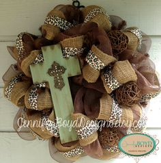 Rustic Western Turquoise and Brown Cross by JenniferBoydDesigns, $95.00