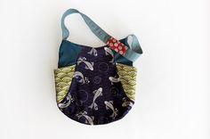 Asian bag, Japanese tote bag, Organic cotton bag, 241 tote, Koi shoulder bag