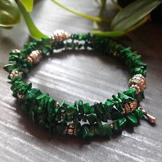 Check out this item in my Etsy shop https://www.etsy.com/listing/562886674/malachite-memory-wire-bracelet