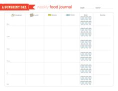 Free Food Log Printable. This is really great for people who love whole foods, and not processed junk!