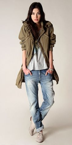 Parka MAISON SCOTCH  T-shirt FRENCH CONNECTION  Jeans G-STAR RAW  Brogues SIXTYSEVEN