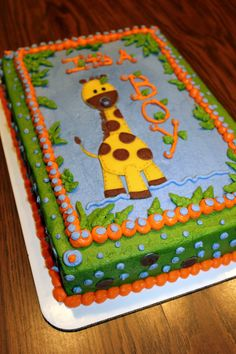 ideas baby shower ideas for girs giraffe jungle cake Giraffe Birthday Cakes, Giraffe Cakes, Baby Birthday, Safari Cakes, Boy Cakes, Baby Shower Sheet Cakes, Baby Shower Cakes For Boys, Baby Shower Giraffe, Shower Baby