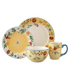 This Pfaltzgraff Morning Glory dinnerware set features a hand-painted pattern of red and blue flowers against a warm golden background. This 16-piece set of plates, bowls, and mugs offers services for four and is dishwasher and microwave safe.