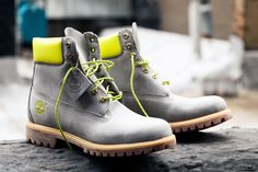 Safety Grey x DTLR Timberland Boots More pics to come! Shoes Boots Timberland, Timberlands Shoes, Timberlands Women, Timberland Mens, Grunge Style, Soft Grunge, Me Too Shoes, Men's Shoes, Shoe Boots