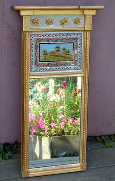 Antique Federal Period Painted Glass Eglomise Mirror circa 1810