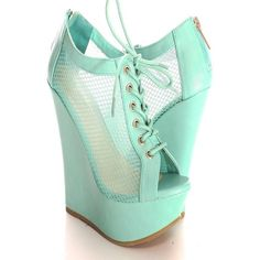 MINT OPEN TOE LACE UP BACK ZIPPER WEDGE ($60) ❤ liked on Polyvore featuring shoes, laced up shoes, transparent shoes, high heeled footwear, high heel wedge shoes and mint green shoes